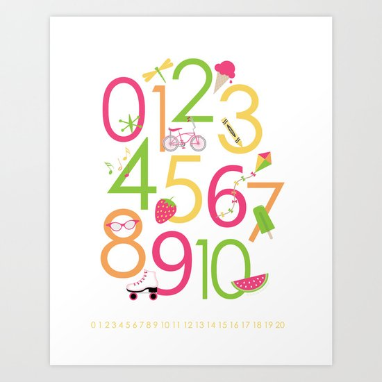 Counting / Numbers for Girls Art Print