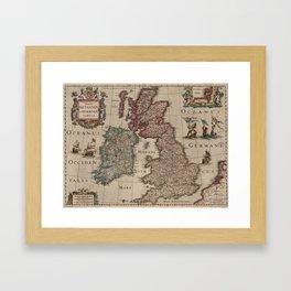 Vintage Map of The British Isles (1617) Framed Art Print
