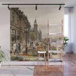 Parisian Flower Market on the River Seine by Girmin-Girard Wall Mural