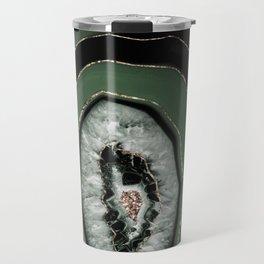 Green Black Agate with Gold Glitter #1 #gem #decor #art #society6 Art Travel Mug