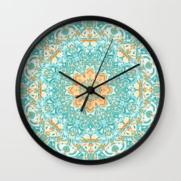 Orange and Turquoise Floral Mandala Wall Clock