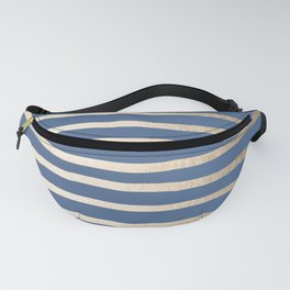 Simply Drawn Stripes White Gold Sands on Aegean Blue Fanny Pack