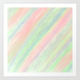 Geometrical abstract watercolor celery green pink brushstrokes Art Print