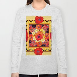RED POPPIES DECORATIVE FLORAL ABSTRACT Long Sleeve T-shirt