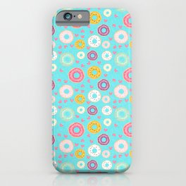 hearts and donuts blue iPhone Case