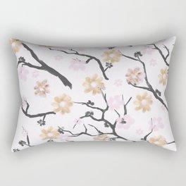 Blush pink black gold watercolor elegant floral Rectangular Pillow