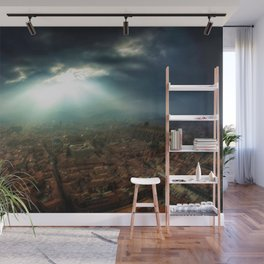 Rays of Sunlight Over Florence Landscape Painting by Jeanpaul Ferro Wall Mural