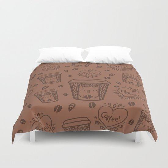 Doodle coffee cat Duvet Cover