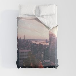 new york city skyline and couple-romance on the rooftop Comforters