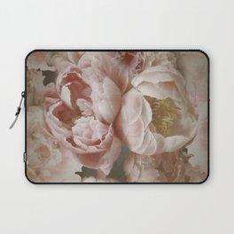 Big Roses And Peonies Soft Pink Vintage Botanical Garden Laptop Sleeve