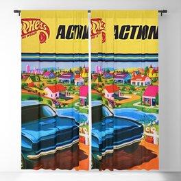 1970 Vintage Hot Wheels Redline Action City Center Poster Blackout Curtain