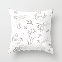 Leaves Sketch Throw Pillow