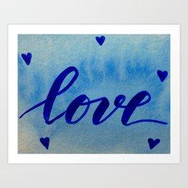 Valentine's Day Watercolor Love - blue Art Print