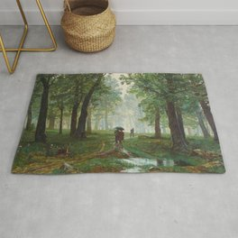 "Ivan Shishkin ""Rain in the oak forest"" Rug"