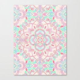 Mint and Blush Pink Painted Mandala Canvas Print