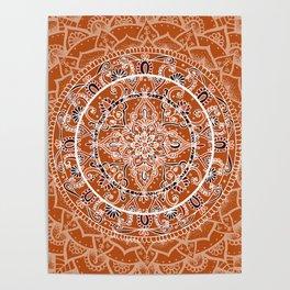Detailed Burnt Orange Mandala Poster