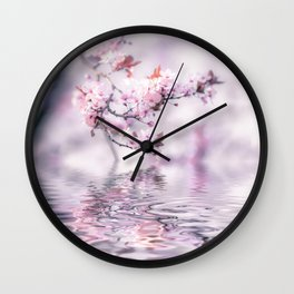 Zen Style Cherry Blossom and Water Wall Clock