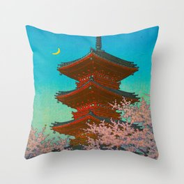 Vintage Japanese Woodblock Print Pastel Colors Blue pink Teal Shinto Shrine Cherry Blossom Tree Throw Pillow
