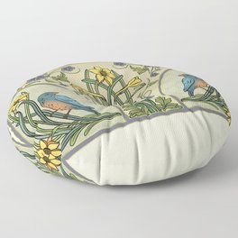 Bluebirds And Spring Blossoms Inspired By Art Nouveau Floor Pillow