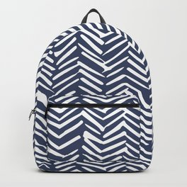 Boho Herringbone Pattern, Navy Blue and White Backpack