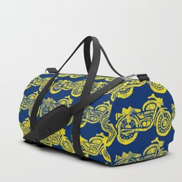 Motorcycles Linocut Yellow Gold Navy Blue Duffle Bag