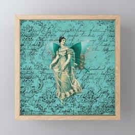Vintage Aqua Fairy Framed Mini Art Print