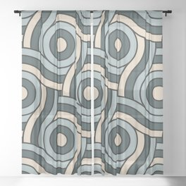 Night Watch, Alpaca Wool and Blue Willow Circle Swirl Pattern Sheer Curtain
