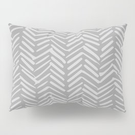 Geometric Art, Herringbone, Mudcloth, Gray, Wall Art Boho Pillow Sham