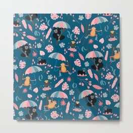 Monkeys in Rain Boots | Coral and Teal Metal Print