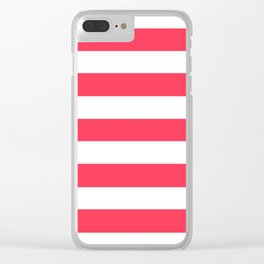 Sizzling Red - solid color - white stripes pattern Clear iPhone Case