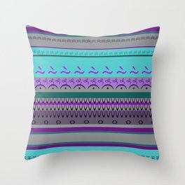 Signs Pattern Turquoise violet Throw Pillow