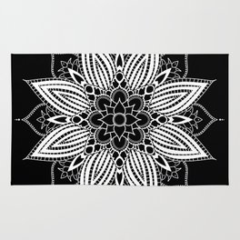 Black and White Flower Mandala Rug