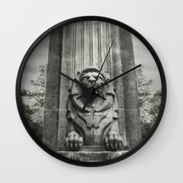 Vancouver Raincity Series - Lion at the Gate - Black and White Wall Clock