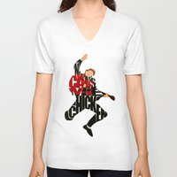 mcfly V-neck T-shirts featuring Marty Mcfly by Ayse Deniz