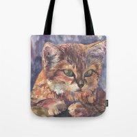meow Tote Bags featuring Meow by Emma Reznikova