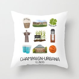 Champaign-Urbana Throw Pillow