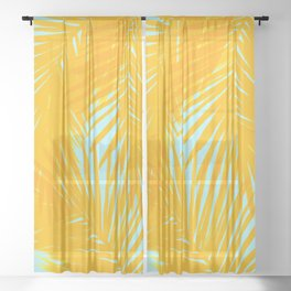 Palms Tangerine & Blue Sheer Curtain