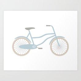 Blue Retro Bicycle Art Print