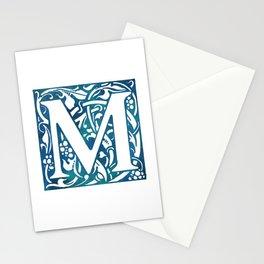 Letter M Antique Floral Letterpress Stationery Cards