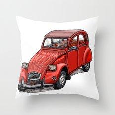 Red 2cv Throw Pillow