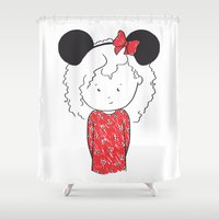 minnie mouse Shower Curtains featuring Minnie 5 by Little Moon Dance