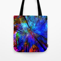 bedding Tote Bags featuring Colorful forest by haroulita