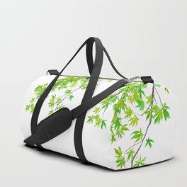 fresh green spring maple leaf Duffle Bag