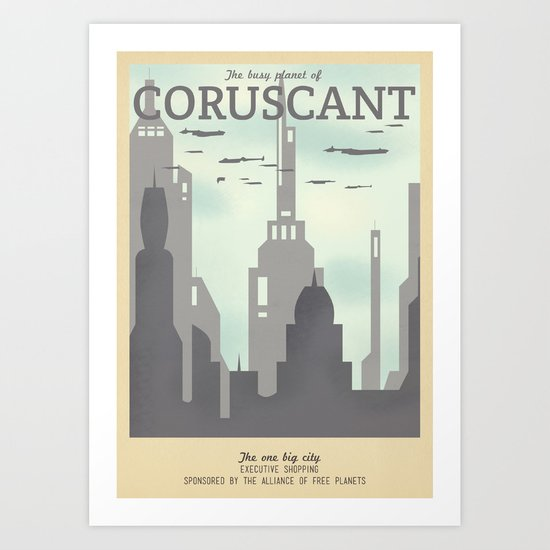 Retro Travel Poster Series - Star Wars - Coruscant Art Print
