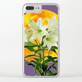 EASTER LILIES ON LILAC GOLDEN MOON ABSTRACT Clear iPhone Case