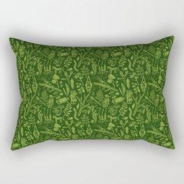 Woodland walk - dark acid green Rectangular Pillow