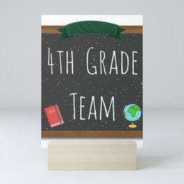 4th Grade Team Shirts Fourth Grade Team Chalkboard Shirts Mini Art Print