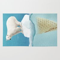 pun Area & Throw Rugs featuring Polar ice cream cap by Vin Zzep