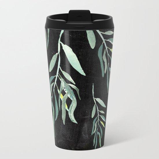 Eucalyptus Branches On Chalkboard II Metal Travel Mug