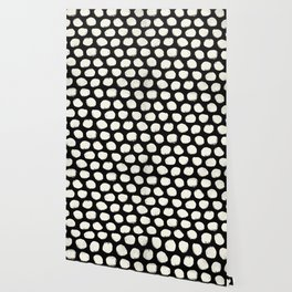 Trendy Cream Polka Dots on Black Wallpaper